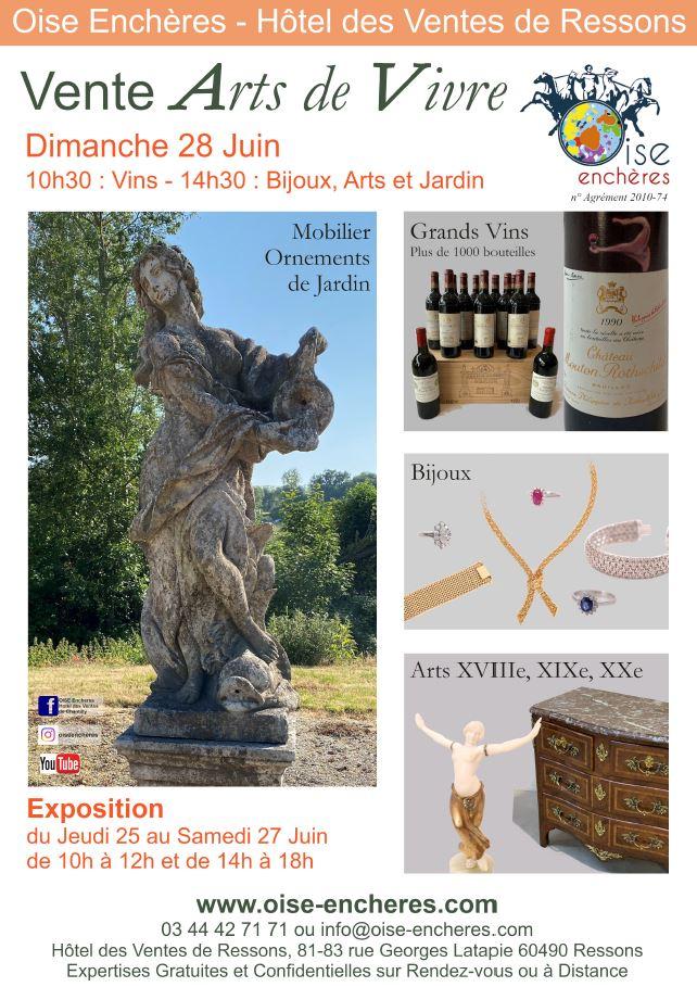 Vente Arts de vivre : Vins, Bijoux, Arts, Décoration et Jardin chez Oise Enchères : 462 lots