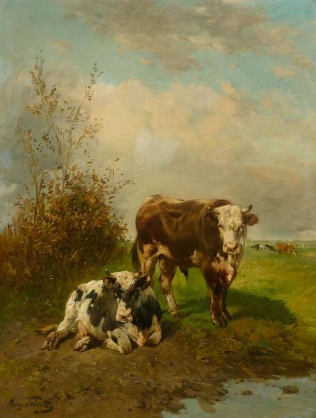 *SCHOUTEN, PAUL HENRI  - (Paris 1860 - 1922 Brussels)  - Two cows at the waterside.  [...]