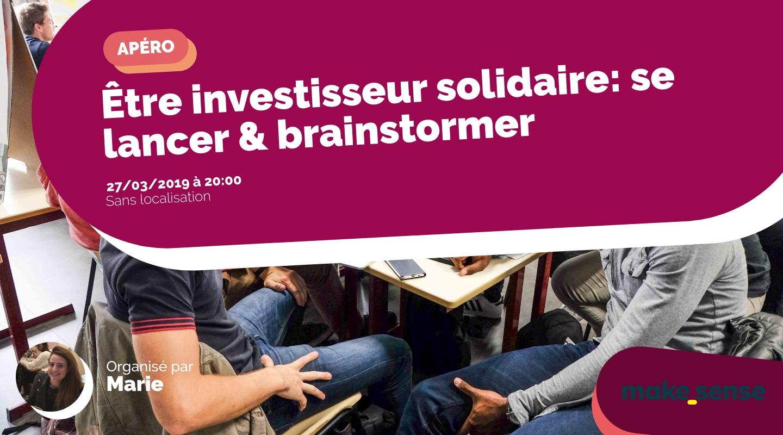 Image de l'événement : Être investisseur solidaire: se lancer & brainstormer