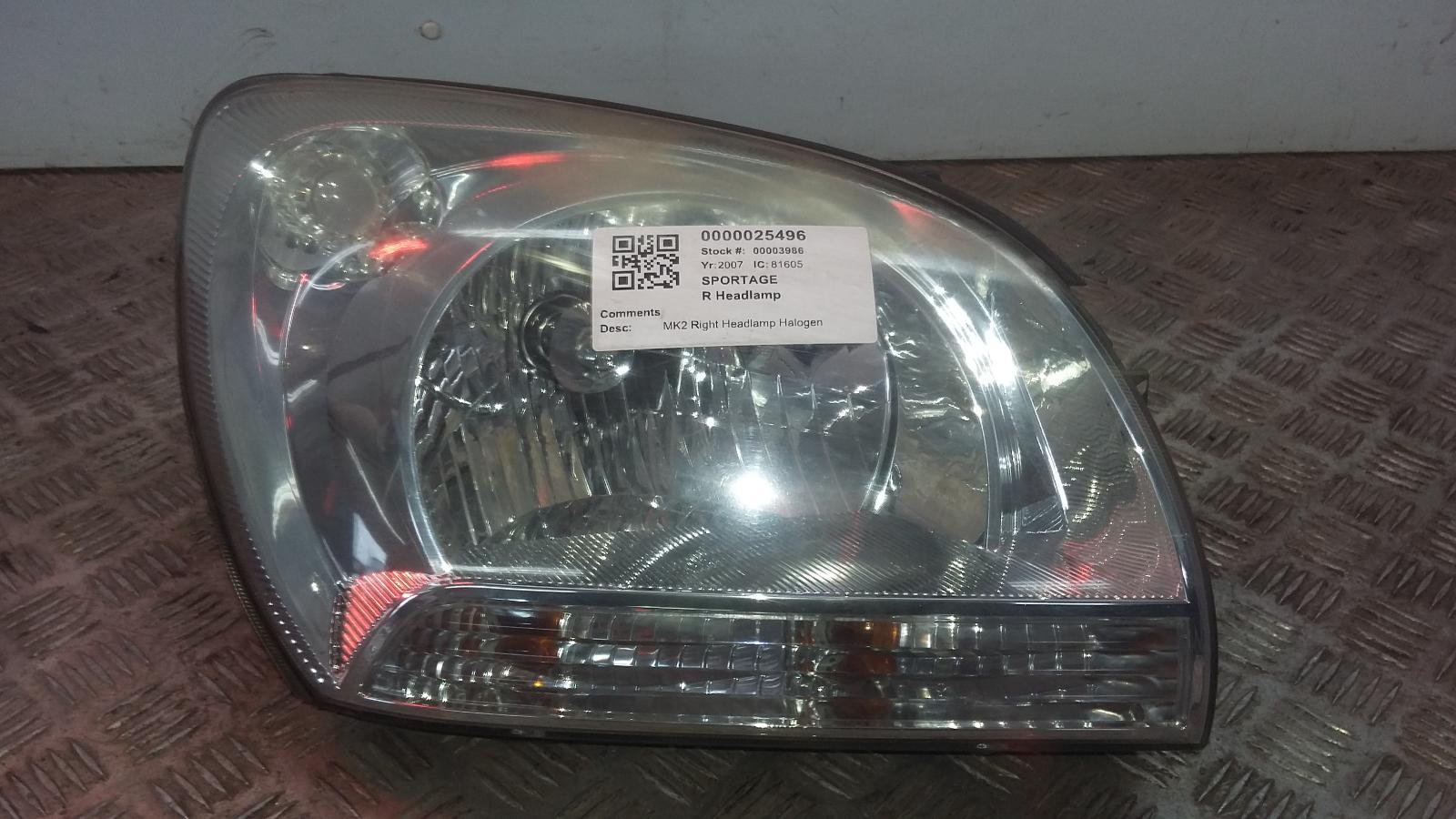 View Auto part R Headlamp KIA SPORTAGE 2007