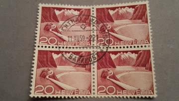 1949 Helvetia Viererblock Zs-Nr: 301A
