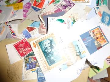 Schachtel mit Briefen und Marken Schweiz & Ausland