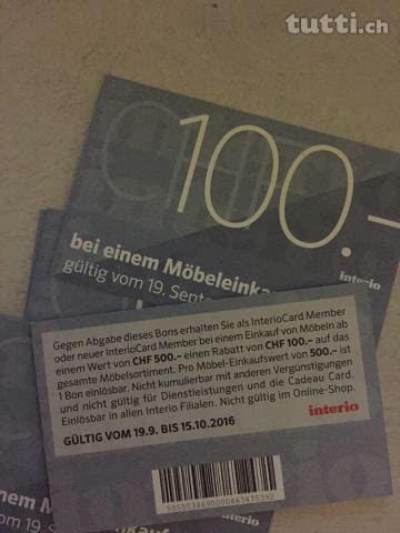 Interio 100 Rabatt Ab Möbeleinkauf Von 500 Günstig Gebraucht