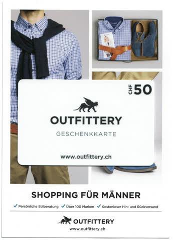 outfittery geschenkkarte 50 chf g nstig gebraucht kaufen bei. Black Bedroom Furniture Sets. Home Design Ideas