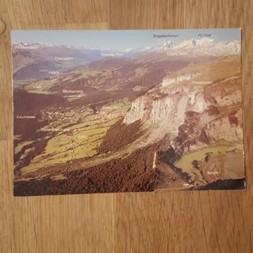 Postkarte, Blick von der Alp Mora auf Bergis und Flims