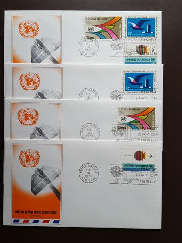 UNO NY - Luftpostmarken von 1974 in div. FDC Ausführungen