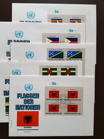 UNO NY - Flaggenserie 4er Block FDC Couverts 1982