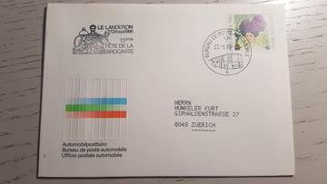 Automobil Postbureau Beleg 27.9.1986