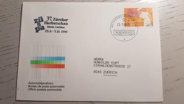 Automobil Postbureau Beleg 25.9.1986