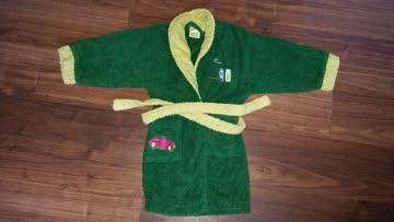 Bademantel grün Frottee , für KindAlter: 6 Jahre, mit Gürtel