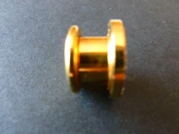 Tunnel Plug goldfarbig mit 3 Reihen Glitzersteinchen