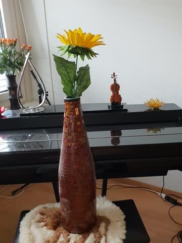 Wunderschöne grosse Mosaik Vase inkl Blume
