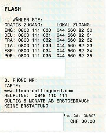 Flash-Callingcard mit CHF 30.-- Guthaben