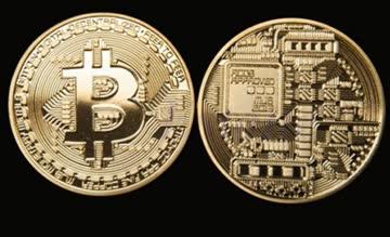 Kupfer-Bitcoin Erinnerungsmünze in gold-Farbe