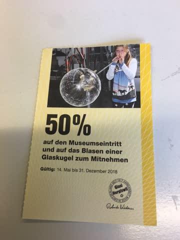 Glasi Hergiswil, 50 % Eintritt Museum und Glaskugel für 2