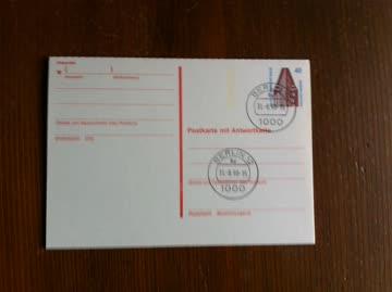 1990 Doppelpostkarte Berlin rotbraun gestempelt Berlin 12