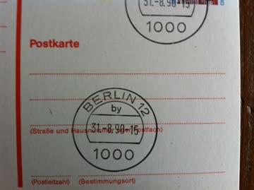 D-1990 Postkarte gestempelt Berlin rotbraun Gestempelt