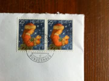 1987 Brief mit Weihnachtsmarken ,aus dem Bundeshaus