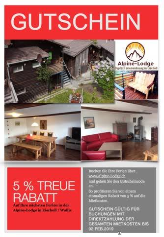 5% Rabattcode Ferien im Wallis - Alpine-Lodge in Eischoll