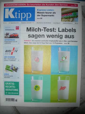 Ktipp Nr. 15, 20.09.2017: Milch-Test: Labels sagen wenig aus