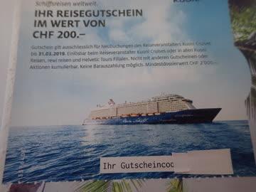 Kuoni Schiffsreise CHF 200