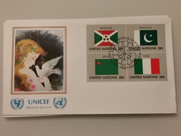 1984 FDC Nations Unies Flaggs Burundi/Pakistan/Benin/Italien