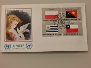 1984 FDC Nations Unies Flaggs Polen/Papa N.Guinea/Urugay/Chi