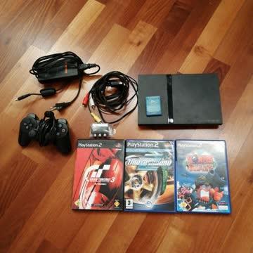 PlayStation 2 Slim - 1 x Controller - 3 x Games