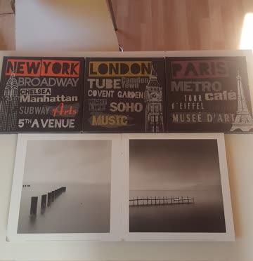 5 Bilder NY Paris London schwarz weiss