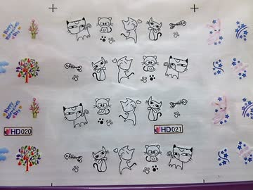 Nail Sticker Herzen, Blumen, Katzen *** 1 Bogen NEU ***
