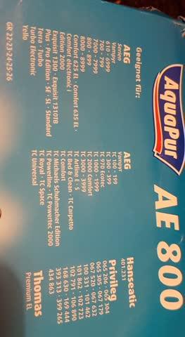 1 Staubsaugerbeutel AE800 aqua pur