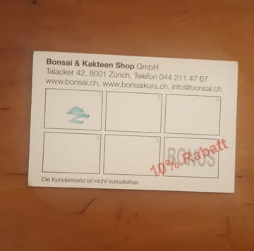 Kundenkarte Bonsai Shop