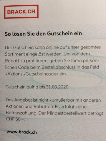 wholesale online unique design buy good 20CHF Gutschein BRACK.CH günstig gebraucht kaufen bei Exsila.ch