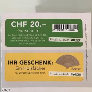 Walder Gutschein 20 CHF + Extra