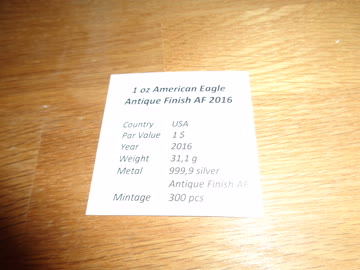 1 OZ American Eagle Antique Finish AF 2016