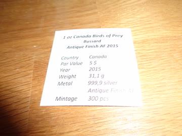 1 oz Canada Birds of Prey Bussard Antique Finish AF 2015