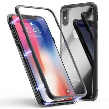 iPhone Xs Max 360 Cover Hülle Coque Magnetisch + Panzerglas.