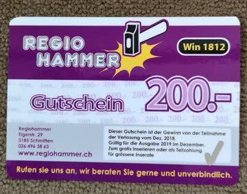 Inserategutschein CHF 200.-