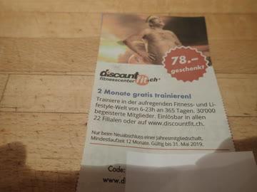 Gutschein discount fitnesscenter 78.- geschenkt