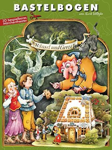 Hänsel und Gretel im Märchenwald: Bastelbogen Hexenhaus zum Ausschneiden