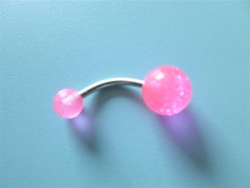Bauchnabel-Piercing Banane rosa mit Glitzer