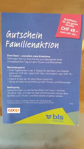 Gutschein Thuner- und Brienzersee, Familienticket