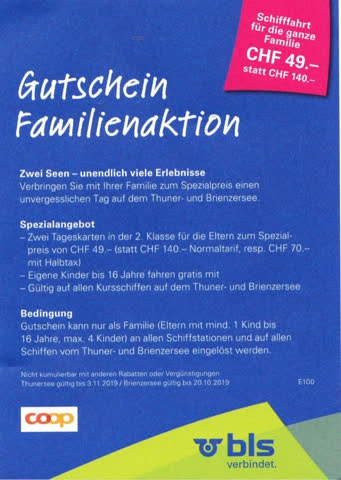 Gutschein Familienaktion Thuner-/Brienzersee