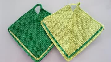 neue gehäkelte Topflappen hellgrün / dunkelgrün