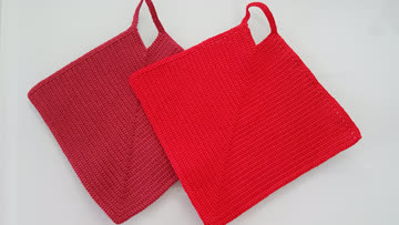 neue gehäkelte Topflappen rot / dunkelrot