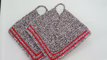 neue gehäkelte Topflappen grau / rot