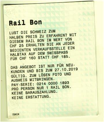 SBB Rail Bon für 1/2 Tax Abo CHF 25.- bis 27.10.19