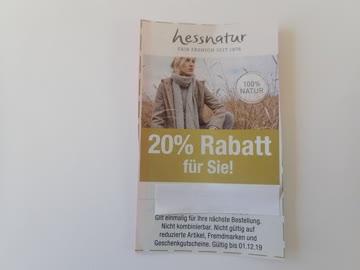 Gutschein hessnatur 20% Rabatt