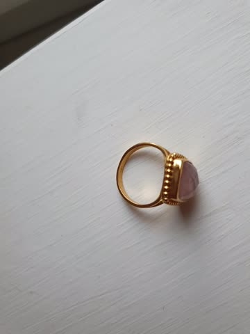 Fingerring echt Silber , vergoldet mit Rosenquarz , Gr. 52