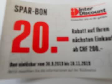 Gutschein Inter Discount CHF. 20.- Rabatt